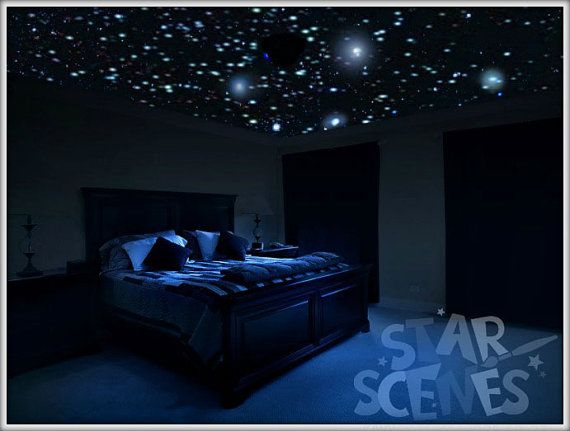 Glow In The Dark Stars Secret Star Ceiling Sleep Under A Starry Night Alternative To Night Light Via Star Ceiling Romantic Bedroom Romantic Bedroom Decor