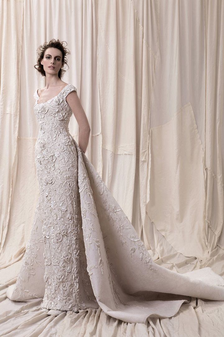 A line embellishment wedding dress with train - sophisticated wedding dresses with impeccable detailing #weddingdress #weddinggowns #weddingdresses #longsleeve embellished bodice princess ball gown wedding dress Krikor Jabotian 2018 Wedding Dresses