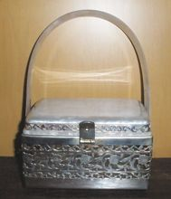 1950's Tyrolean NY White Pearlized Lucite And Silver Tone Box Purse