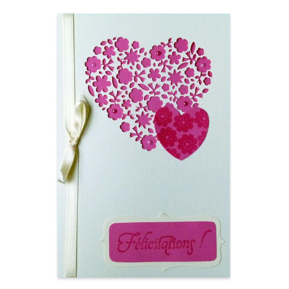 carte flicitations mariage coeur de fleurs rose et ivoire collection lovely dentelle lovely carte - Carte Flicitation Mariage