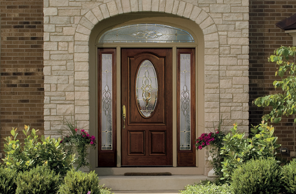Entry Door With Sidelights And Transoms Pella Front