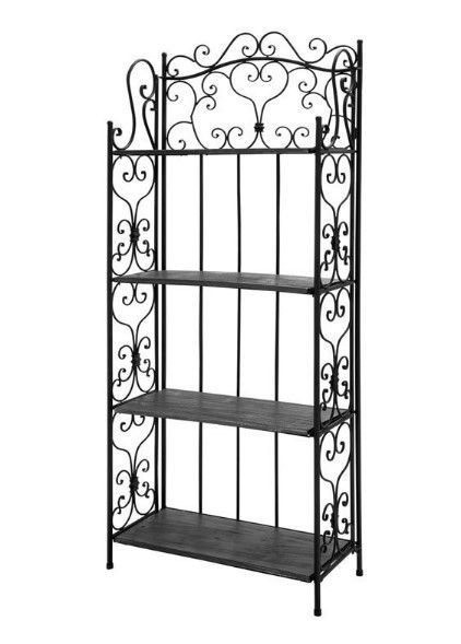 Bakers Rack Metal Wood Shelves Scrollwork Plant Book Kitchen Stand