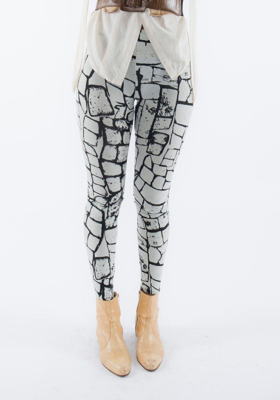 "Handmade Leggings -  ""Stones"" print -  soft organic cotton bamboo blend jersey. £45.00, via Etsy."