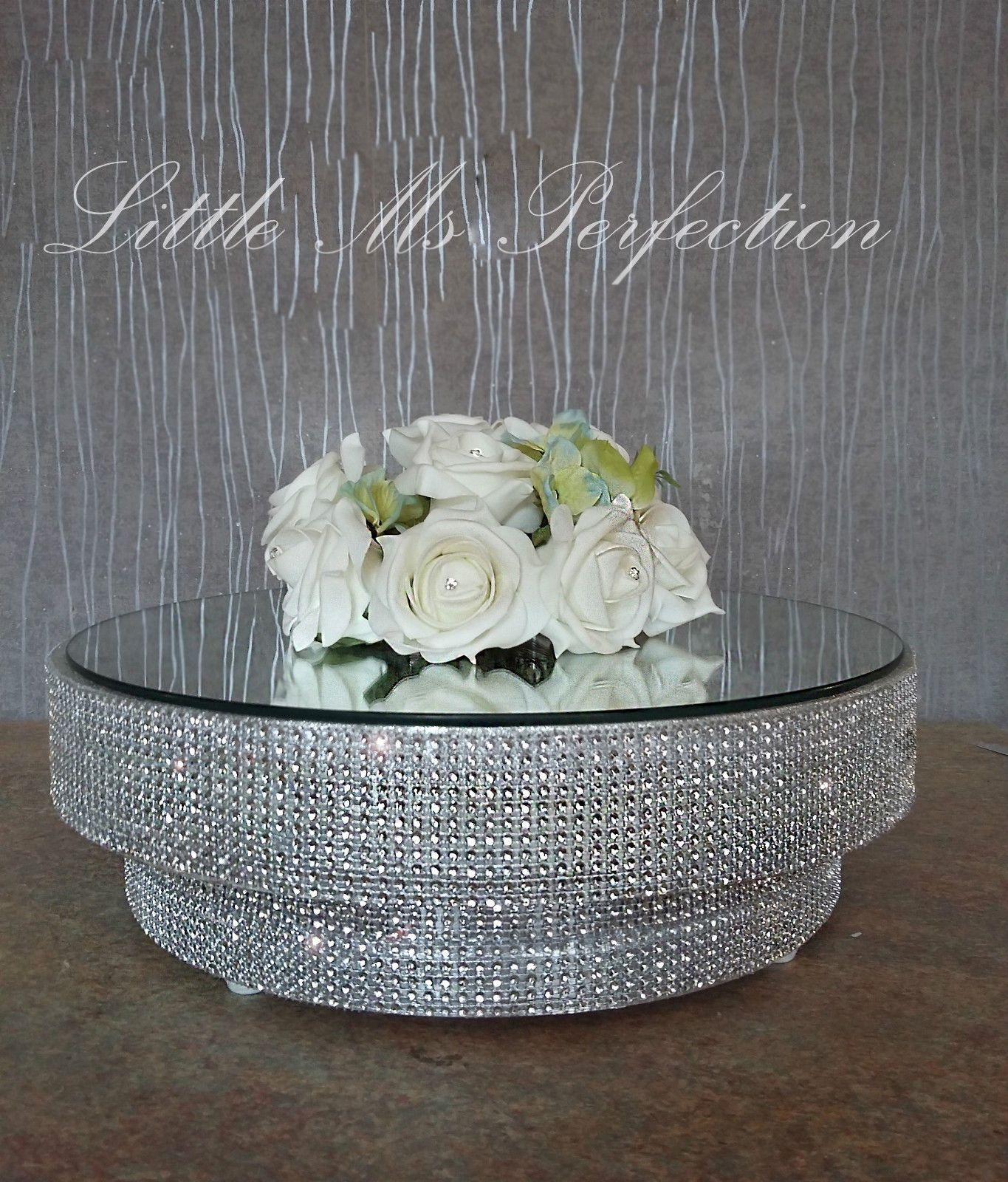 Large diamante crystal wedding cake stand display podium silver gold