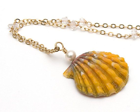 Sunrise Shell Herkimer Diamond Freshwater Pearl Pendant Necklace, Hawaiian Sunrise Shell Pendant Necklace, Sunrise Shell Gold Pendant