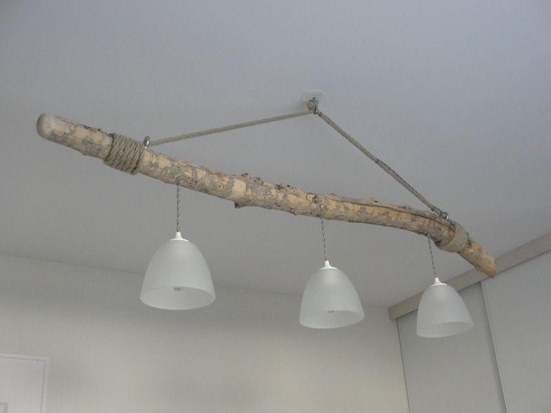 Lustre Suspendu En Bois Flotte Trois Lampes Luminaires Par Patine