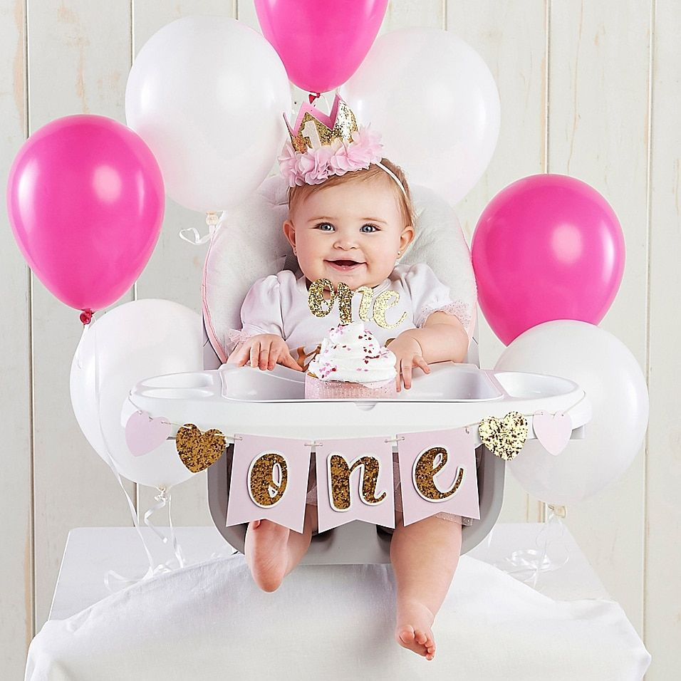 Baby Aspen Gold Glitter 1st Birthday Decor Kit In Pink - Celebrate your little one's first birthday in style with the Baby Aspen Gold Glitter 1st Birthday Decor Kit. It has everything you need for a perfect photo, including a party hat, cake topper and high chair banner.