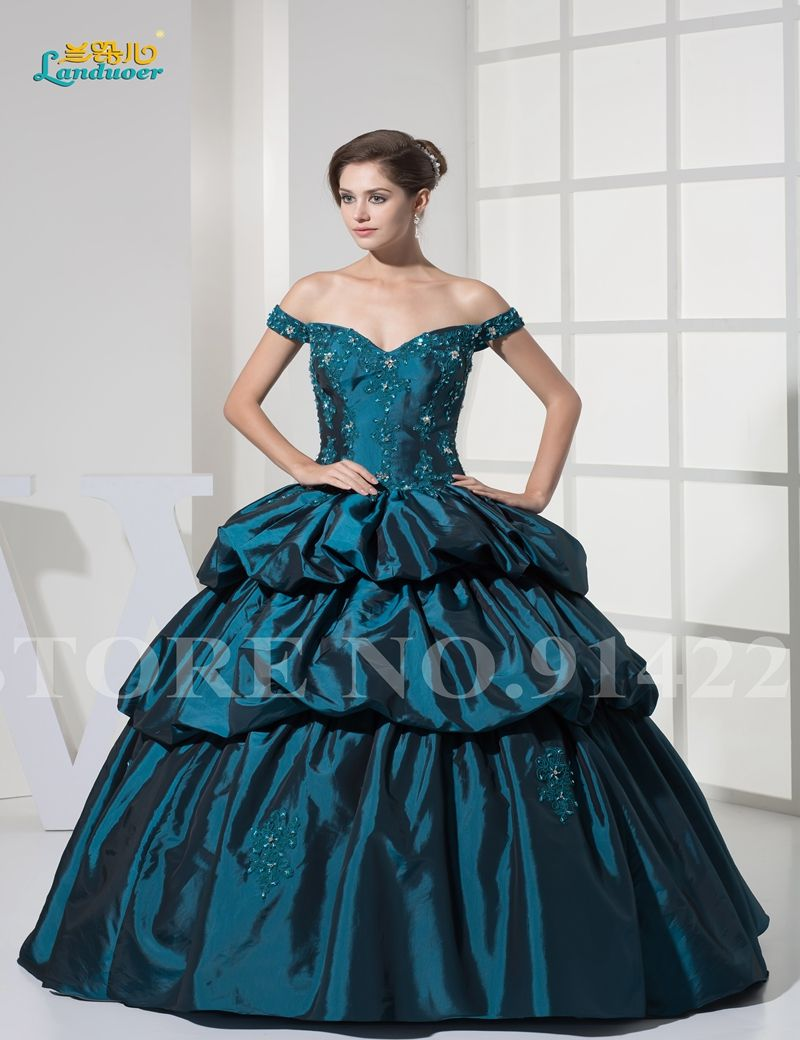 Ball gown mint organza floorlength strapless wedding dress with