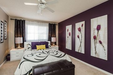 Dark Eggplant Accent Wall Home Spaces Bedroom