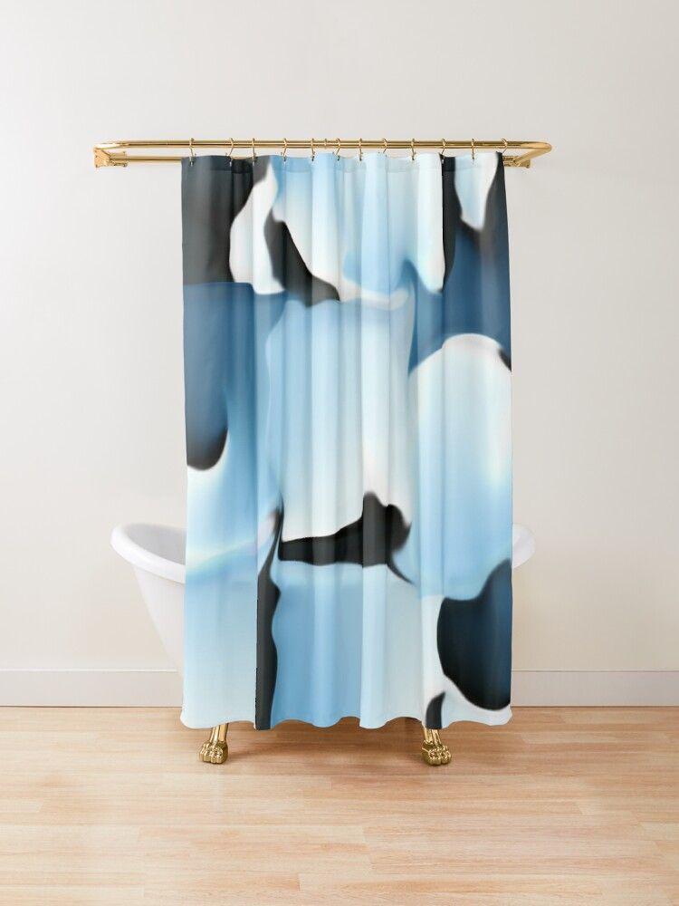 Blaue Tarnung Duschvorhang Blaue Handtucher Badezimmer Dekor