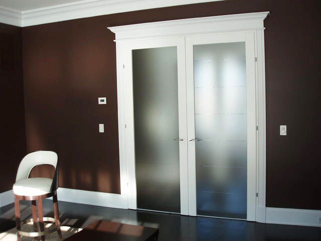 The Elegance Of Adding Double Door Design For The Interior: The Glass  Double Door Design With White Knob