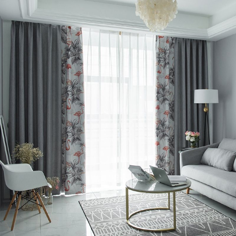 Scandinavian Chic Gray And White Pink Flamingo Curtains For