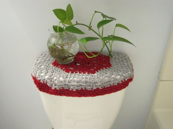 Crochet Toilet Tank Lid Cover or Crochet Toilet Seat Cover   Red light grey   TTL18A or TSC18A Crochet Toilet Tank Lid Cover or Crochet Toilet Seat Cover   Red  . Light Grey Toilet Seat. Home Design Ideas