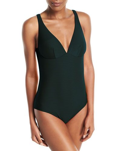 c37afc617c0 JETS BY JESSIKA ALLEN DISPOSITION STRIPED DD UNDERWIRE ONE-PIECE SWIMSUIT