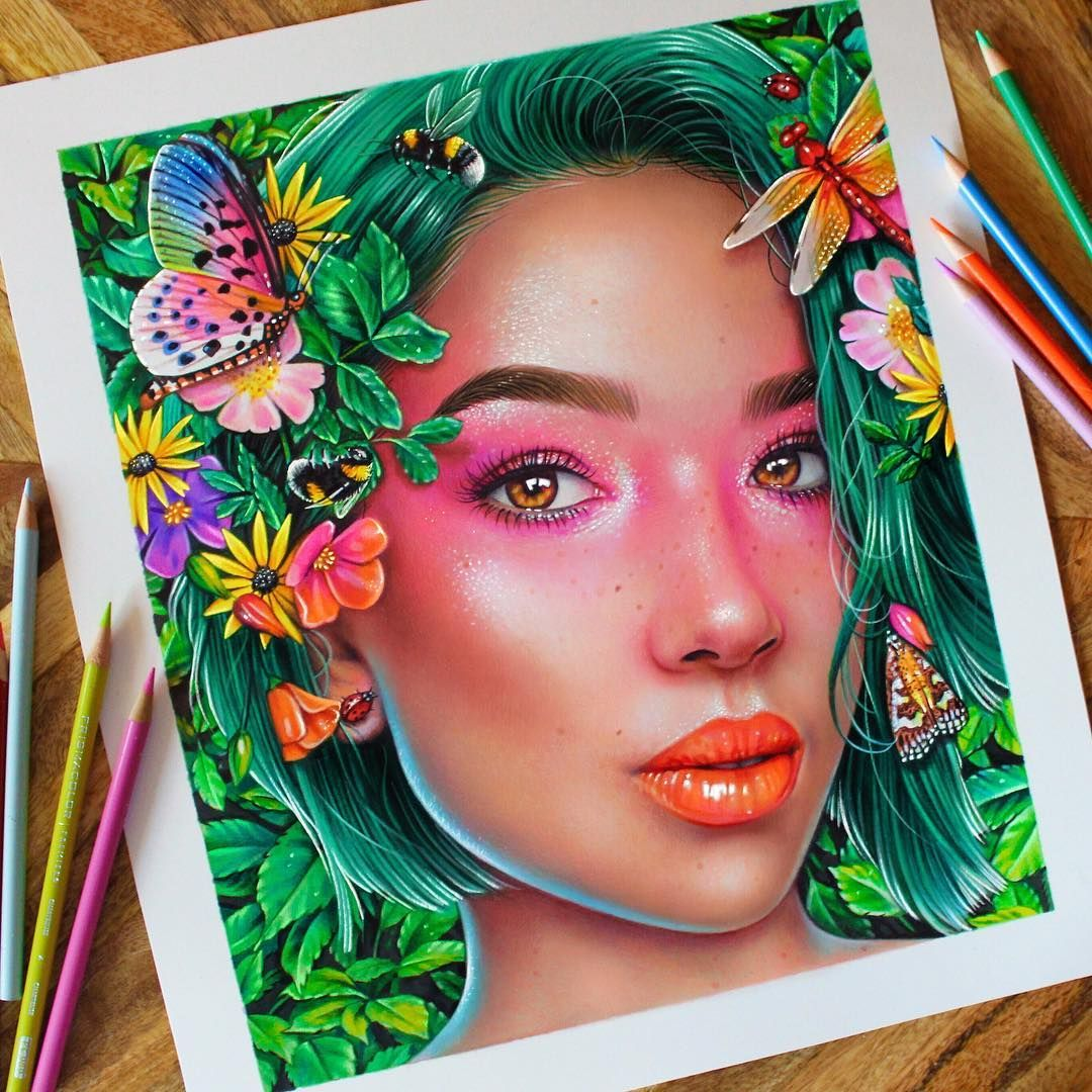 Colored pencil on a marker base i used prismacolor