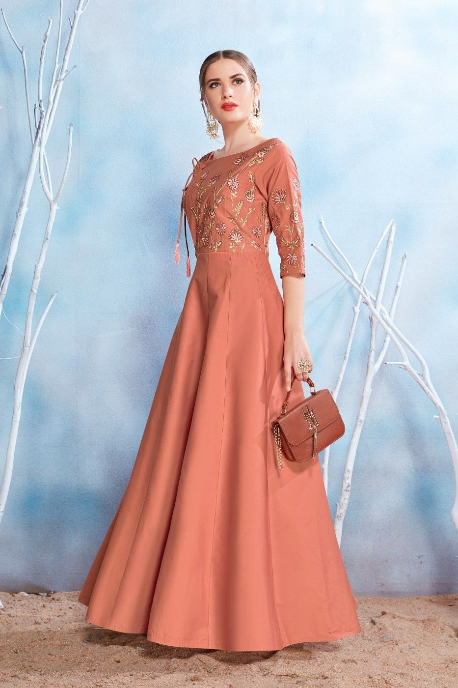 Brown unique indowestern style prom gown with digilat print latest