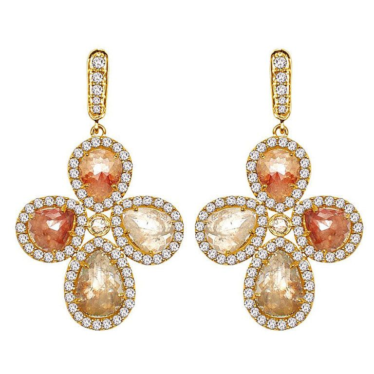 1stdibs Sutra Petal Colored Rose Cut Diamond Earrings Explore Items From 1 700 Global Dealers At
