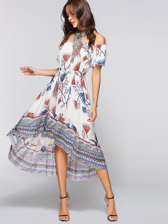 Off Shoulder Printed High Low Dress Onebling Boho Dress Printed Summer Dresses Short Sleeve Maxi Dresses [ 1500 x 1125 Pixel ]