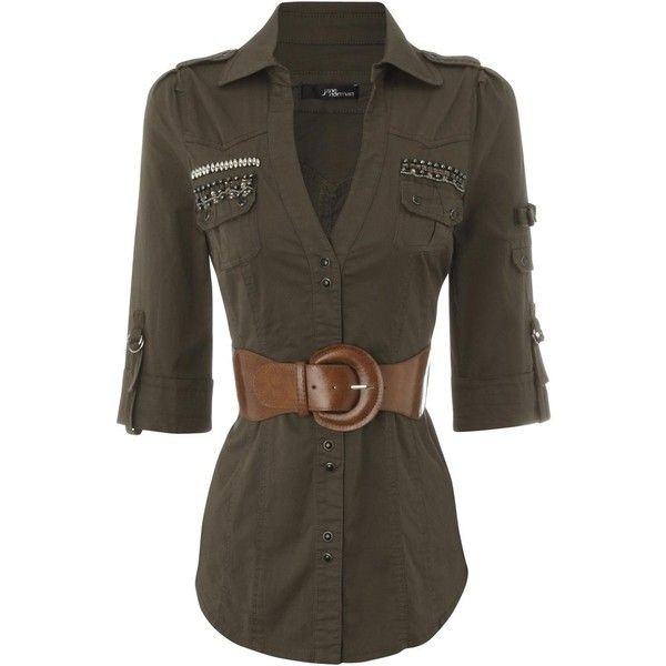 bling military belted shirt ($40) ❤ liked on Polyvore featuring tops, blouses, shirts, blusas, women, shirts & tops, brown shirt, belted shirt, embellished tops en brown blouse