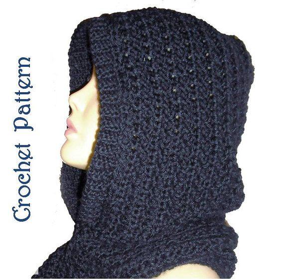 Hooded Scarf Crochet Pattern , Automatic Download | Häkeln und Stricken