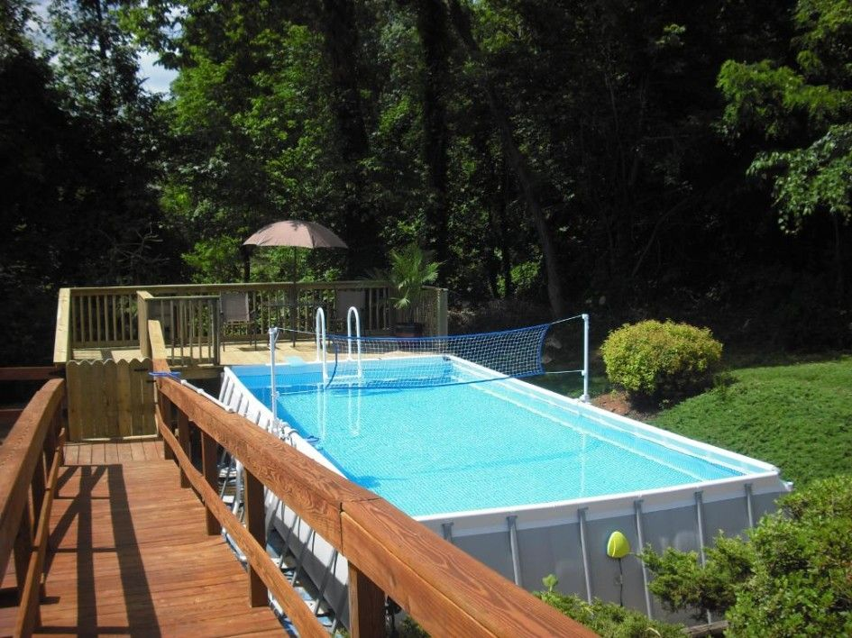 gorgeous intex pools with decks also swimming pool volleyball net and deluxe resin above ground pool - Intex Above Ground Pool Decks