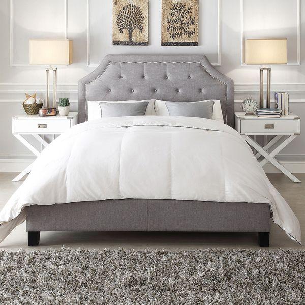 grace grey linen button tufted arched bridge upholstered platform bed