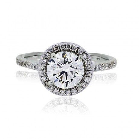 18k White Gold Round Brilliant Micro Pave Diamond Engagement Ring