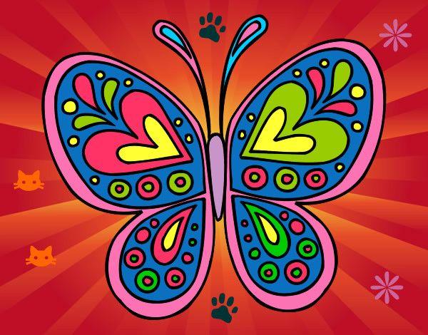 Dibujos De Corazones Coloridos: Dibujo Mandala Mariposa Pintado Por Sara2002