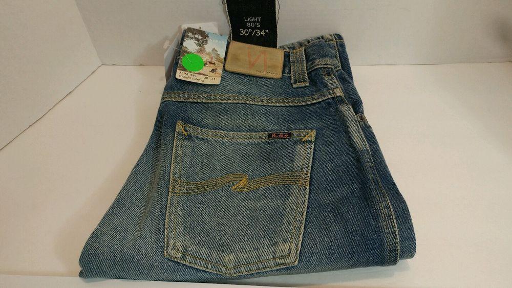 Nudie Jean Slim Jim Org. Light 80's W30 L34 Sweden Designer Demin   #177 #NudieJeans #SlimJimLight80s
