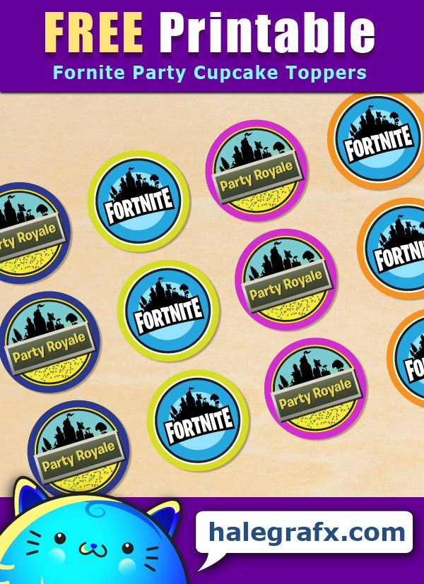 Free Printable Fortnite Party Cupcake Toppers Party