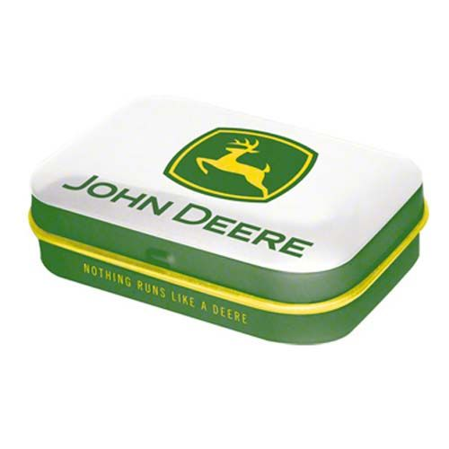 John Deere Logo Clip Art | Nostalgic Art - John Deere White/Green Logo - Tin With Mints - 81182
