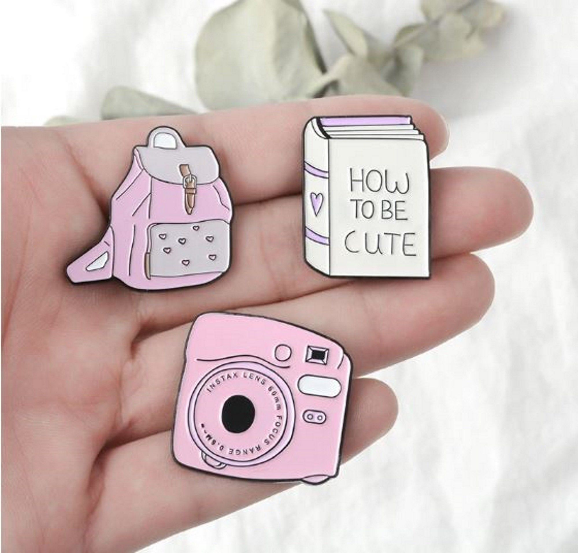 Girly Backpack Book Camera Enamel Pins Pink Brooches In 2020 Enamel Pins Pink Brooch Girly Backpacks