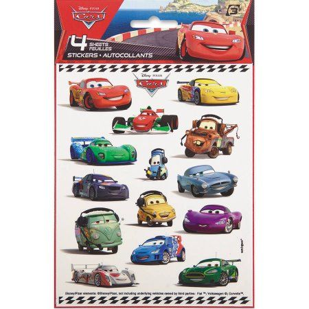 Buy Disney Cars Sticker Sheets, 4-Count at Walmart.com