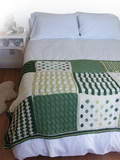 Free Knitting Pattern For Knit Square Afghan And More Sampler Throw