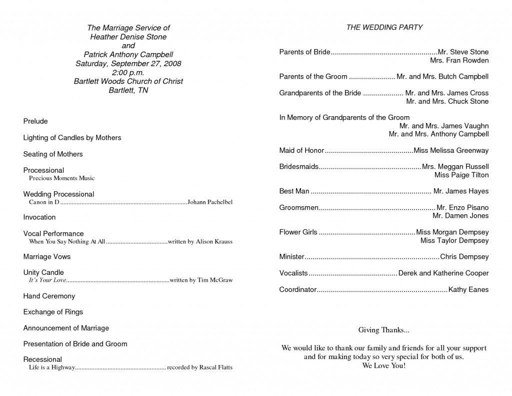 Wedding Program Wording Sample Image Result for Baptist Wedding ...