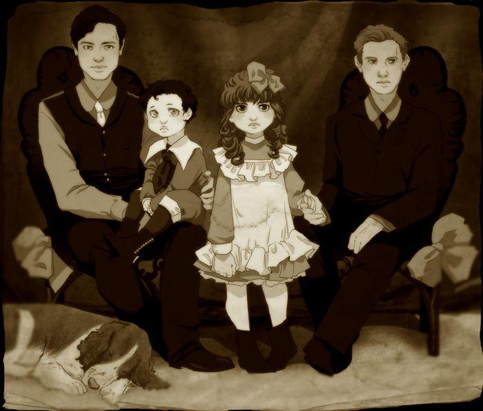 1900s style Michael, Castiel, Anna, Gabriel. cafe_de_labeill