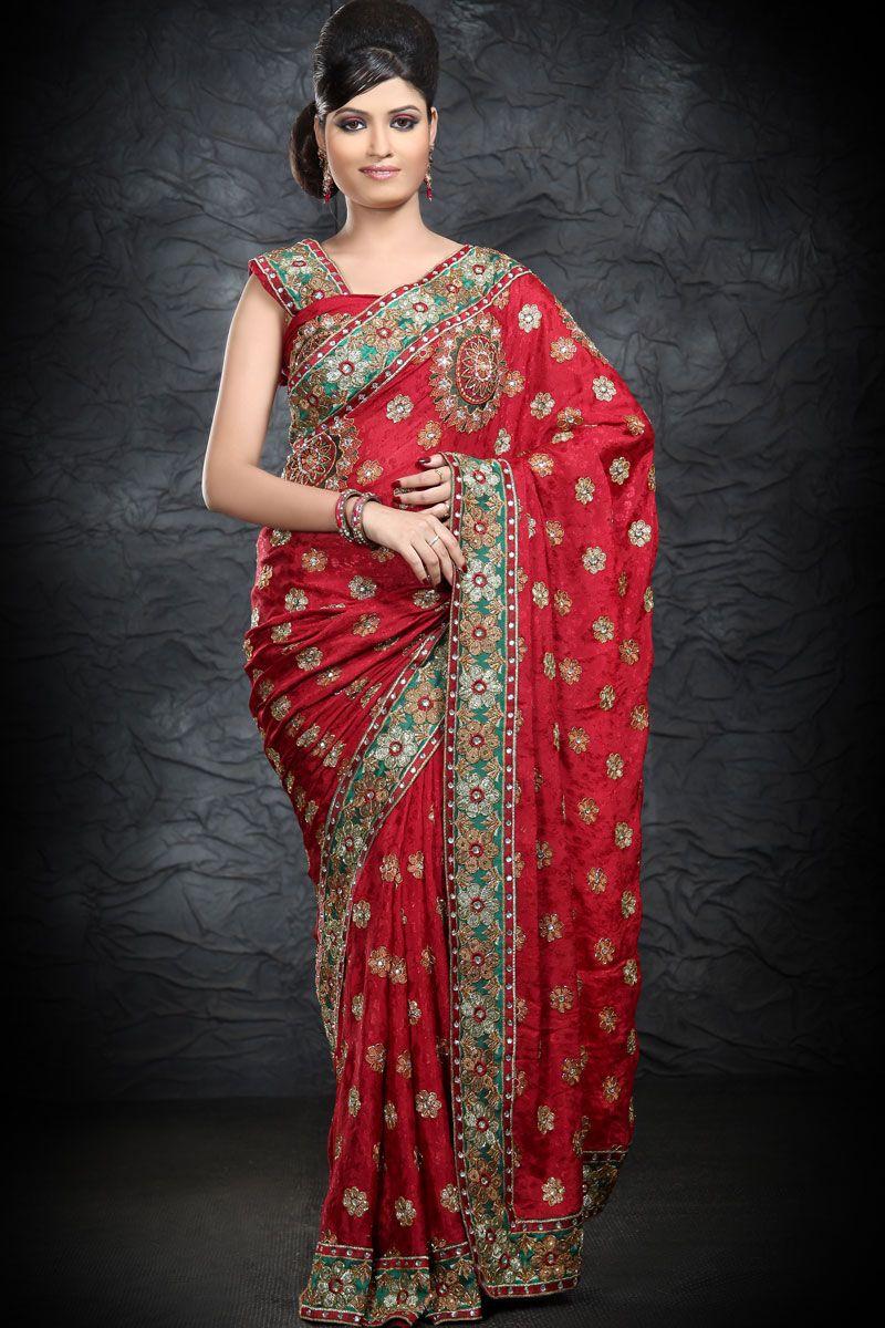 Saree blouse design new latest persian red georgette saree collection   saree
