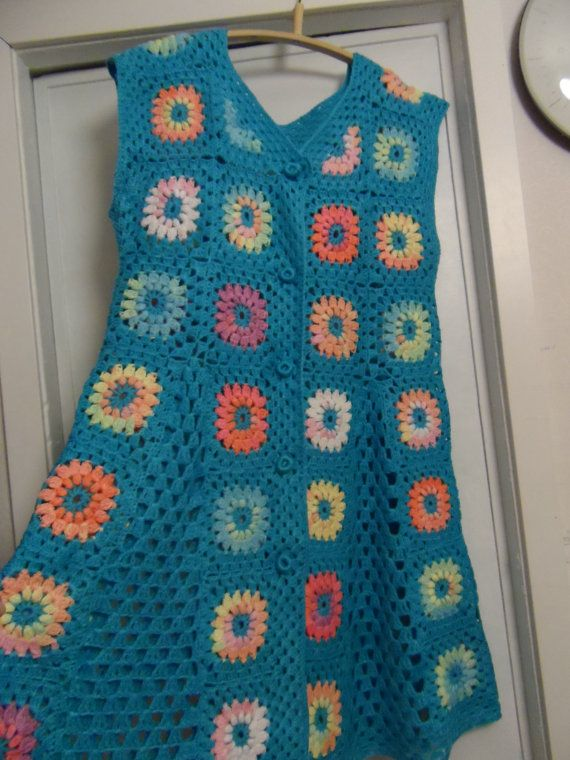 Crochet Granny Square Turquoise Blue Multicolour Puff Stitch Flowers