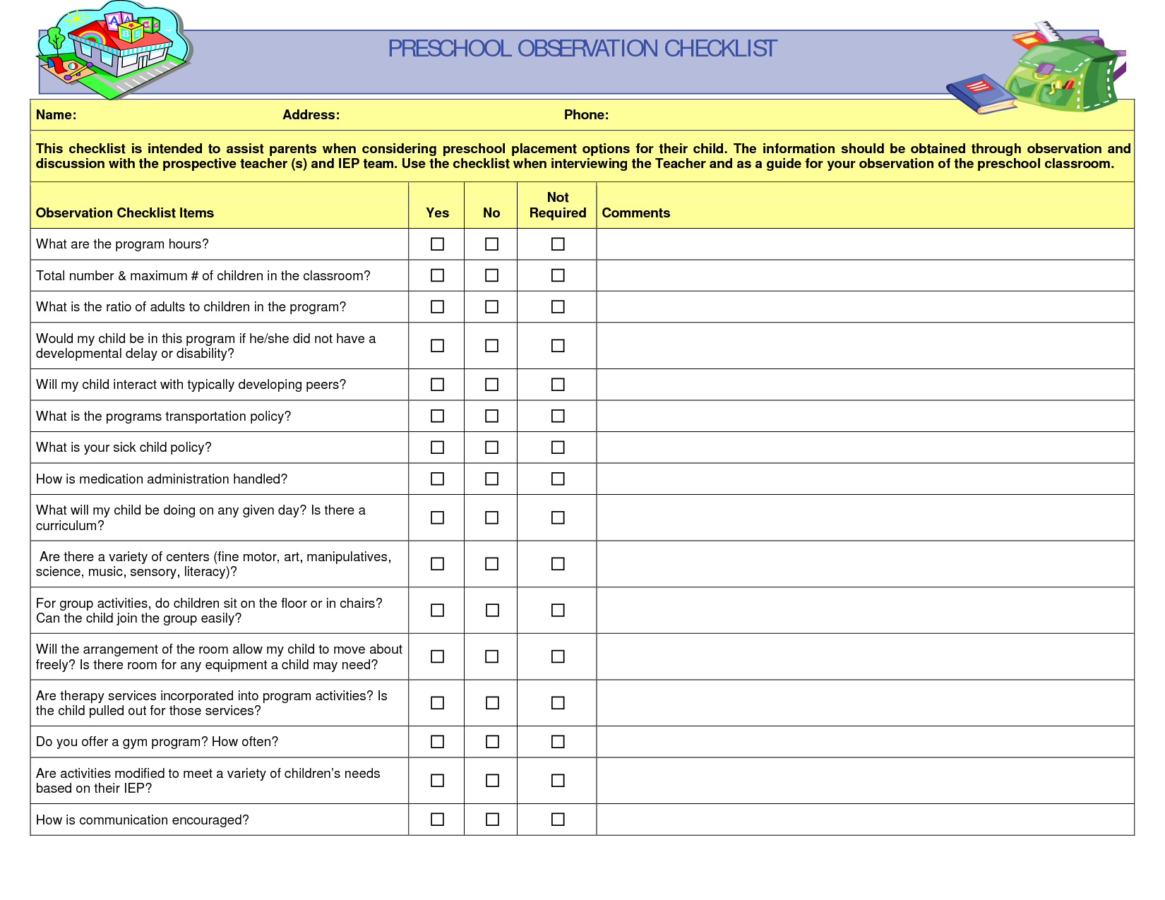 Preschool Teacher Observation Checklist  Curriculum Standards