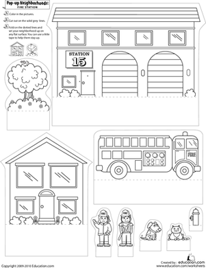 pop up neighborhoods fire station worksheets. Black Bedroom Furniture Sets. Home Design Ideas