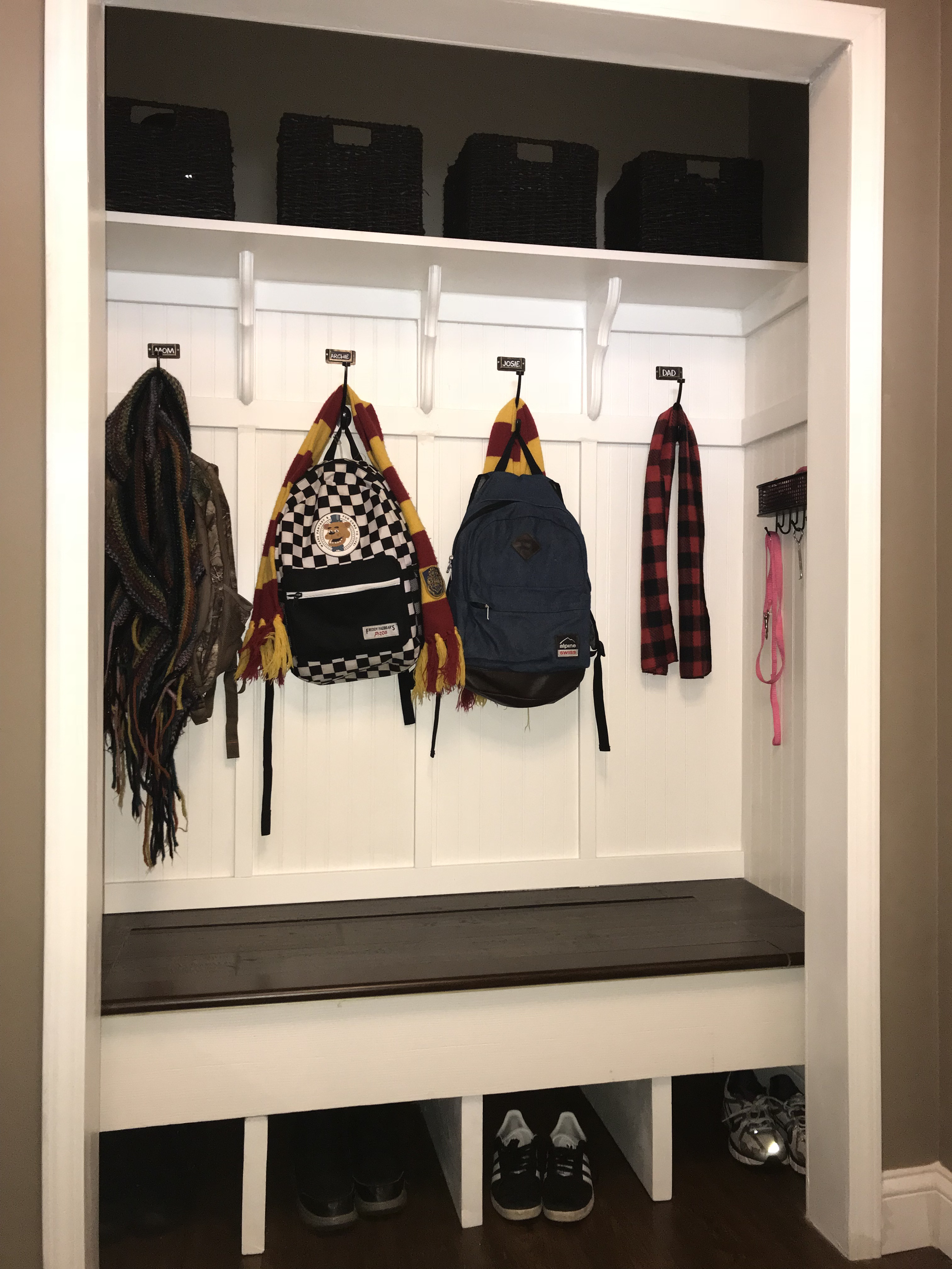Converted The Closet By My Front Door Into A Mudroom Bench With Personal Coat Hooks Shoe Cubbies And Baskets For Eac In 2020 Mudroom Entryway Mudroom Entryway Closet