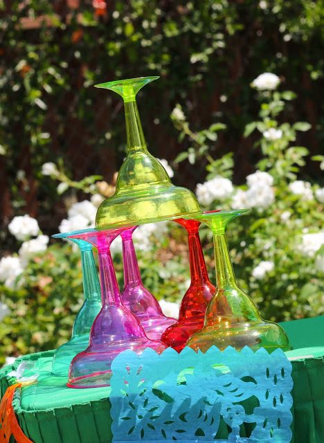 Colorful Plastic Margarita Glasses were Party City Finds! Perfect for a Fiesta Themed Party!