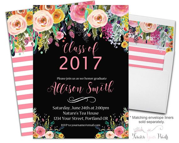 Floral graduation invitation printable or printed graduation floral graduation invitation printable or printed graduation party invitation graduation invite grad invitation filmwisefo