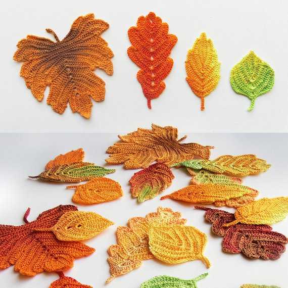 Crochet pattern Autumn leaves. Crochet leaf pattern. Crochet fall ...