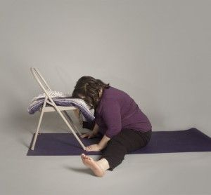 leaning on support  curvy yoga yoga props