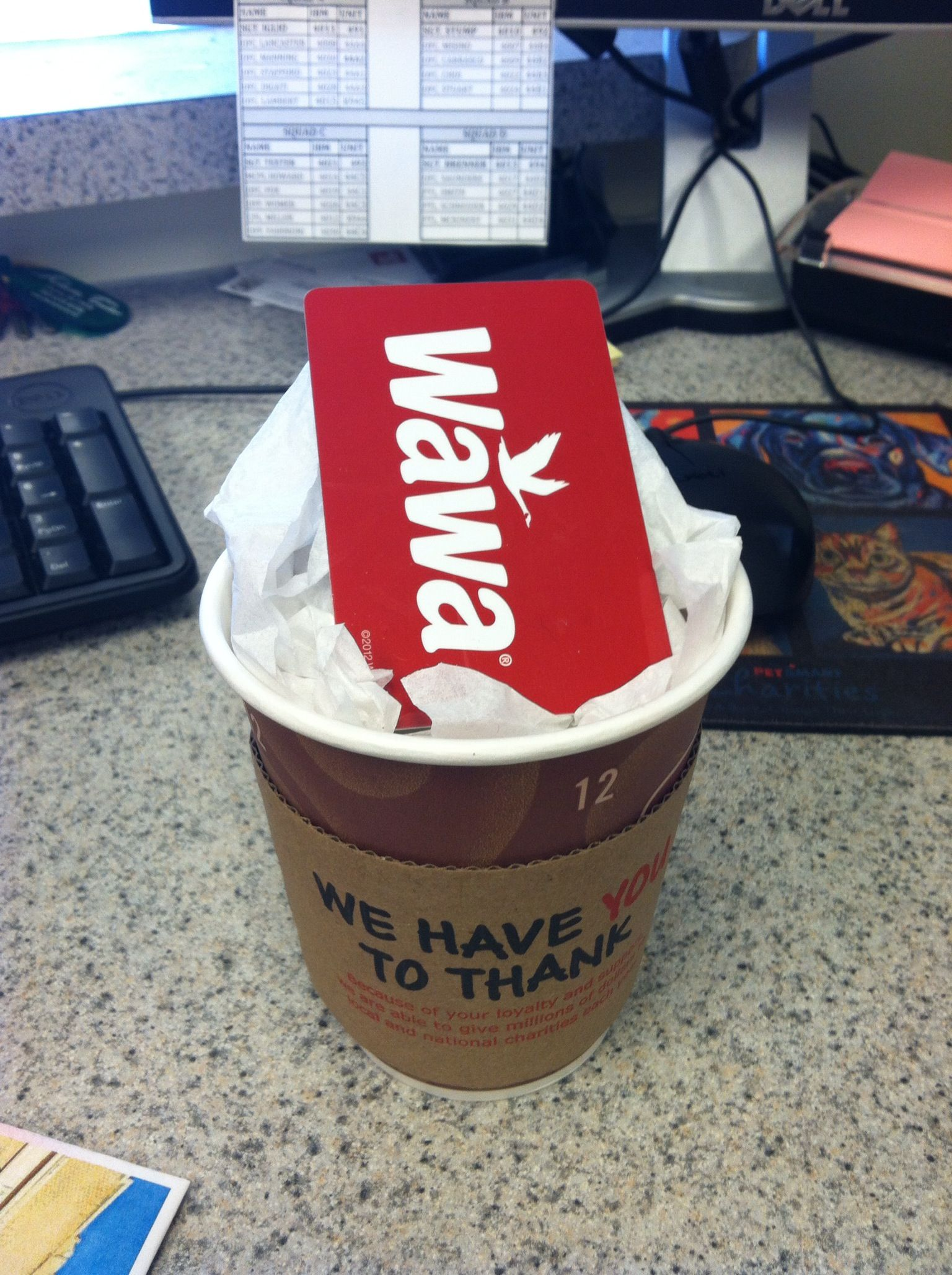 My crafty idea for a Wawa gift card, instead of just putting it in ...