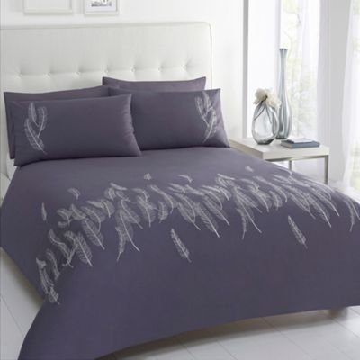 Betty Jackson.Black Designer 'Lois' grey feather embroidery cotton sateen bed linen- at Debenhams.com