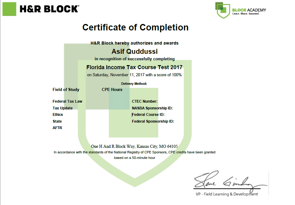 My H R Block Income Tax Course Certificate My Credentials