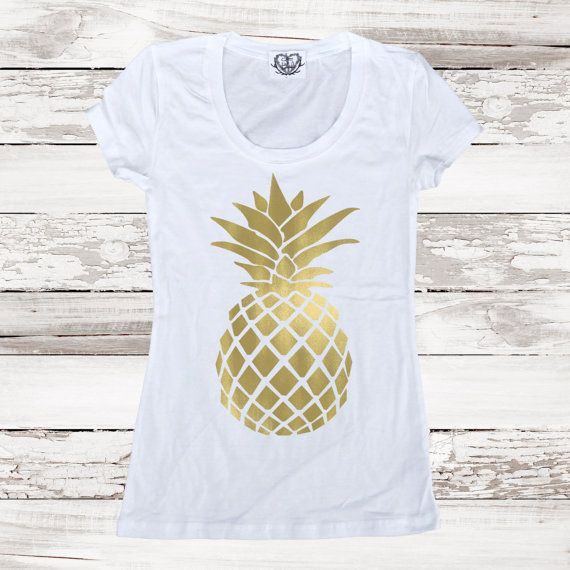64cbe0336c64 Pineapple Fitted Tee T Shirt Gold Pineapple Top by ICaughtTheSun ...