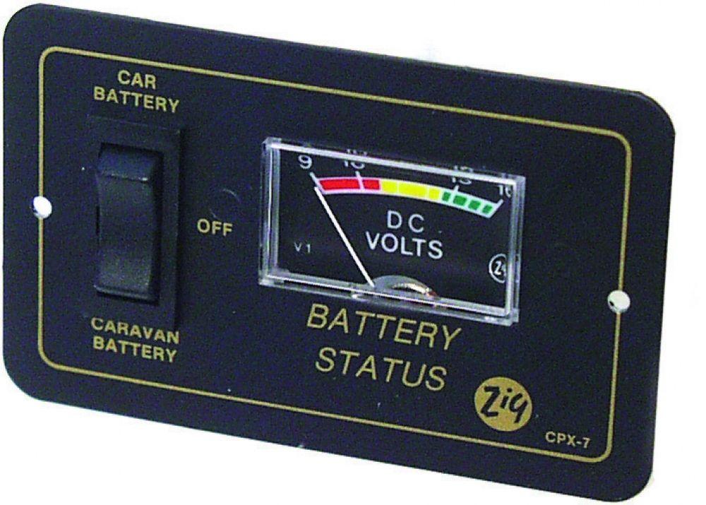 Zig CPX7 DC Voltmeter Controlepaneel voor 2 accu\'s, caravan, camper ...